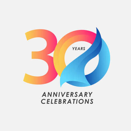 30 Years Anniversary Celebrations Gradient Vector Template Design Illustration