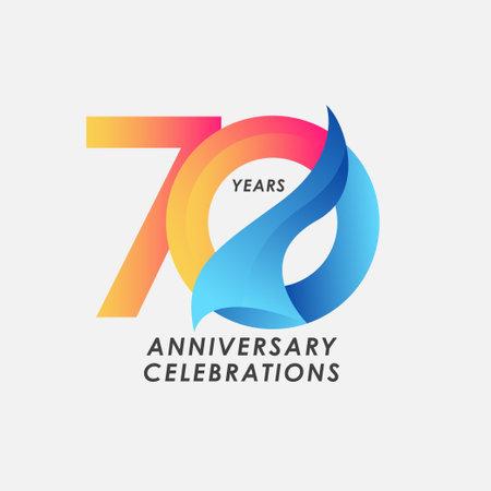 70 Years Anniversary Celebrations Gradient Vector Template Design Illustration