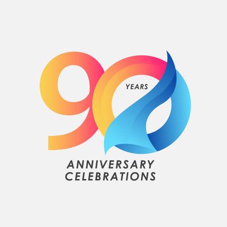 90 Years Anniversary Celebrations Gradient Vector Template Design Illustration