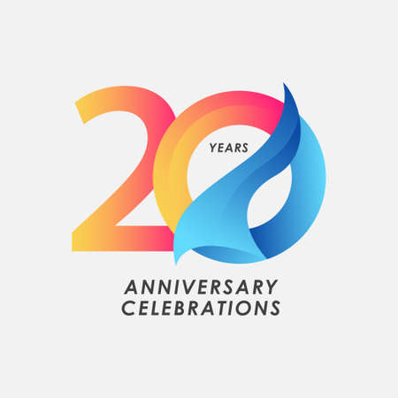 20 Years Anniversary Celebrations Gradient Vector Template Design Illustration Stock Illustratie