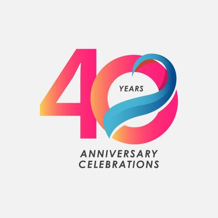 40 Years Anniversary Celebrations Gradient Vector Template Design Illustration Stock Illustratie