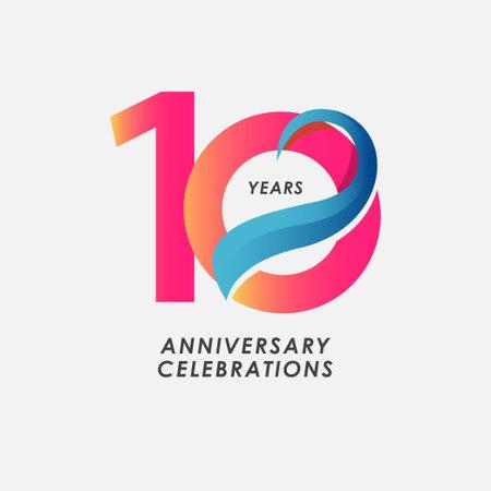 10 Years Anniversary Celebrations Gradient Vector Template Design Illustration Stock Illustratie