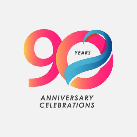 90 Years Anniversary Celebrations Blue Gradient Vector Template Design Illustration