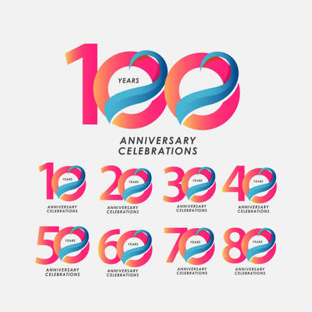 100 Years Anniversary Celebrations Gradient Vector Template Design Illustration Stock Illustratie