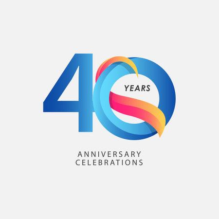 40 Years Anniversary Celebrations Blue Gradient Vector Template Design Illustration Stock Illustratie