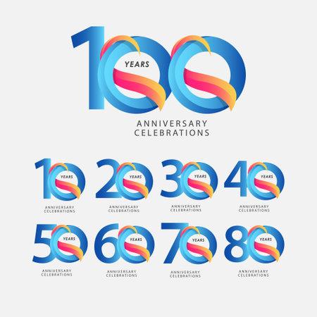 100 Years Anniversary Celebrations Blue Gradient Vector Template Design Illustration