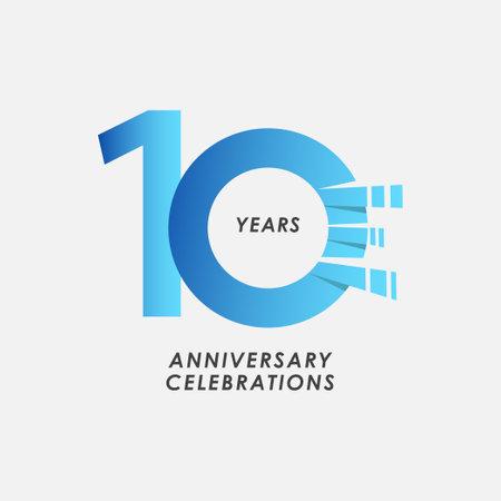 10 Years Anniversary Celebrations Blue Gradient Vector Template Design Illustration Stock Illustratie