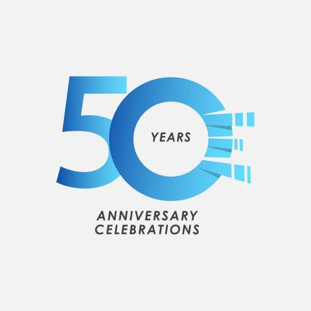 50 Years Anniversary Celebrations Blue Gradient Vector Template Design Illustration