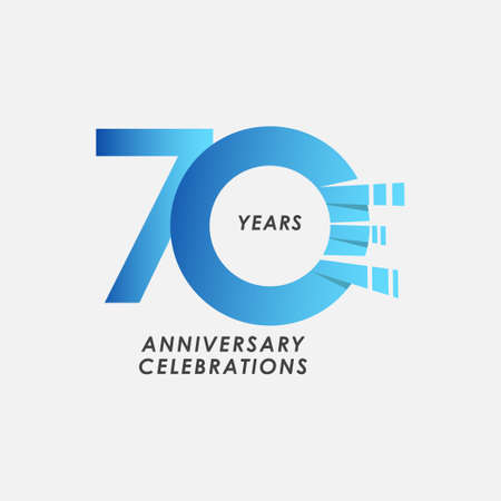 70 Years Anniversary Celebrations Blue Gradient Vector Template Design Illustration