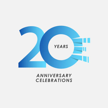20 Years Anniversary Celebrations Blue Gradient Vector Template Design Illustration