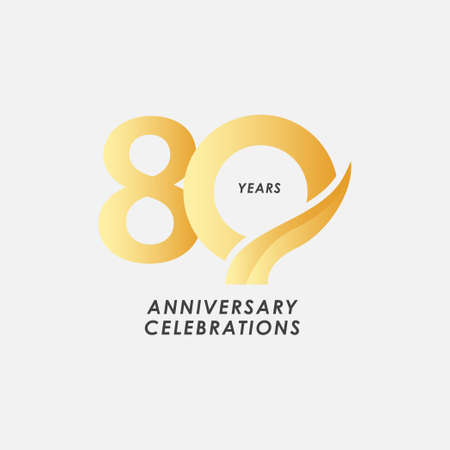 80 Years Anniversary Celebrations Vector Template Design Illustration