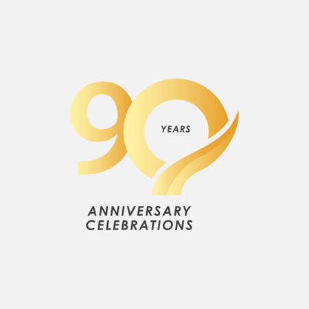 90 Years Anniversary Celebrations Vector Template Design Illustration Stock Illustratie