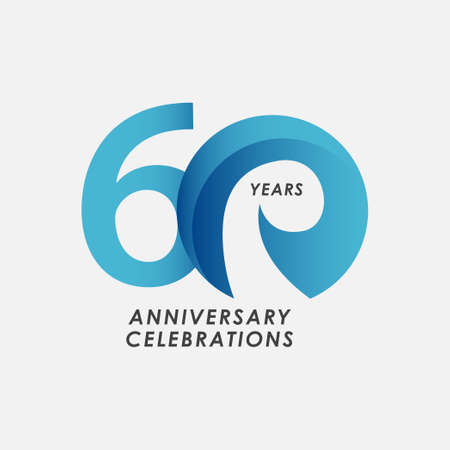 60 Years Anniversary Celebrations Vector Template Design Illustration Stock Illustratie