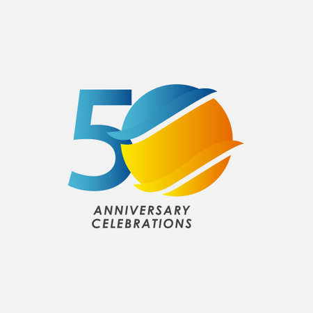 50 Years Anniversary Celebrations Vector Template Design Illustration Stock Illustratie