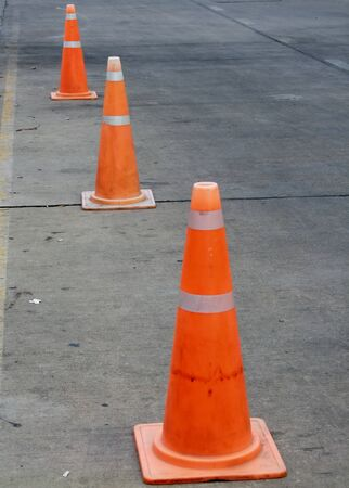 pilons on street photo