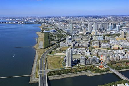 View of Makuhari New City from Makuhari Mansions, a suburban residential area 版權商用圖片 - 134817905