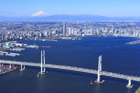 Yokohama Baberich to Yokohama Port, Mt. Fuji, Yokohama Port, Aerial Photography