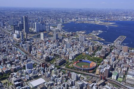 View of Minato Mirai from the sky over Yokohama Port and Yokohama Stadium