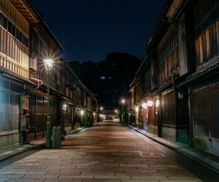 Night view of the Higashiyama geisha teahouse district of Kanazawa, Ishikawa Prefecture, Japan.