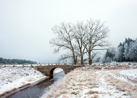 A beautiful old stone bridge in a frosty landscape, Uppland, Sweden  photo