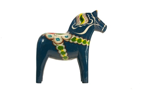 A more modern and blue Dala  Dalecarlian  Horse  This one represent a village in Dalarna, Transtrand  Originally a toy for children and now a national symbol of Sweden  Isolated on white background  photo