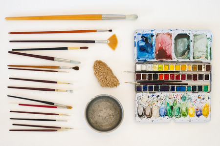 paintbox: A still life with the water-colour artist tools.