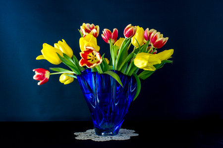 Tulips in a beautiful Blue Vase.