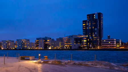 An evening view over Ostra hamnen and the skyline of Munkangen, Vasteras