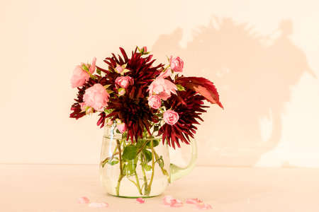 A wonderful Bouquet of autumn flowers as Dahlia Chat Noir and Rose Fairy in a green glass pitcher with a white/pink background Reklamní fotografie