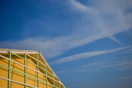 yellow house: yellow house and blue sky