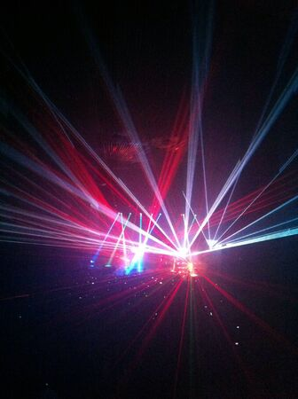 laser lights: Laser lights in a concert Stock Photo