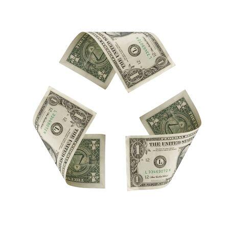 Recycle symbool gemaakt van US dollars  Stockfoto