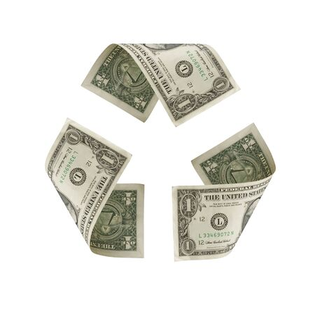 Recycle Symbol Made of US Dollars