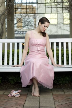 Brunette in Pink Dress photo