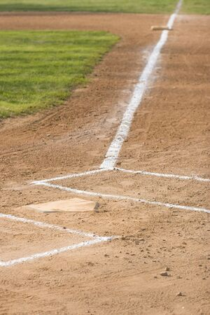 Home Plate on a Baseball Field Stock Photo