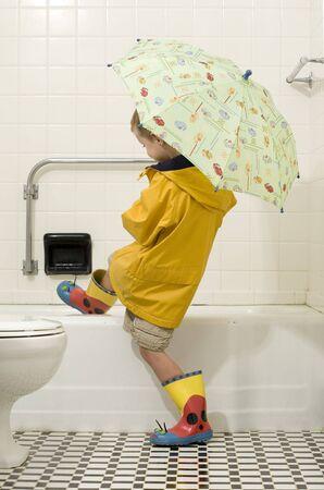 Rain Gear in the Bath Tub photo