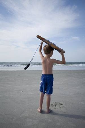 어린 소년 해변에서 스톡 콘텐츠