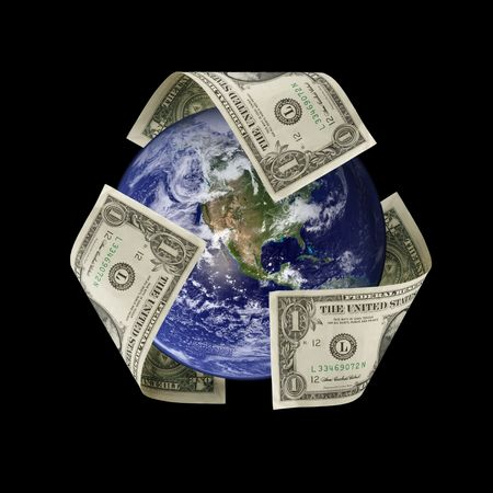 cash flows: Recycle Symbol Made of US Dollars Around the Earth