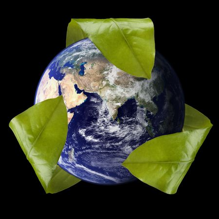 pollution art: Leaf Recycle Symbol Around the Earth Stock Photo