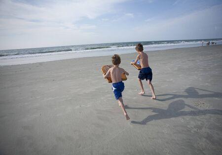 Boys at the Beach 스톡 콘텐츠