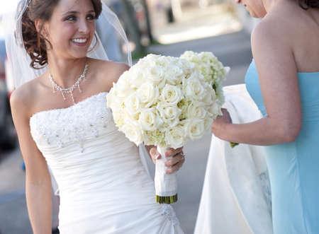 Bruid glimlachend Stockfoto