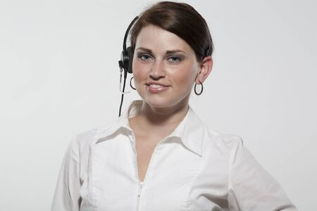 personal service: Young Woman Wearing Headset