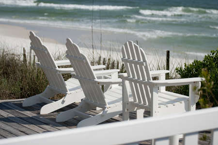 Deck Chairs at the Beach 版權商用圖片
