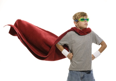 Child Pretending to be a Super Hero Stock Photo - 10739763