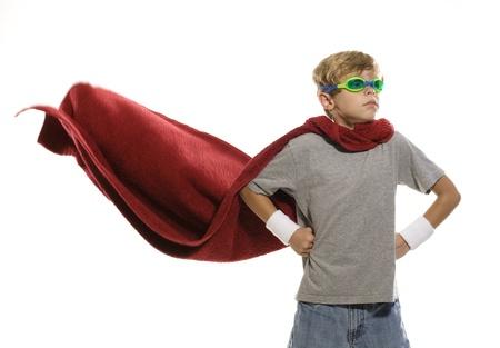 Child Pretending to be a Super Hero Stock Photo