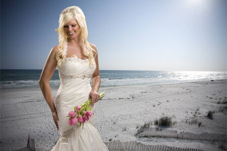 Bride with Beach Background Stock Photo