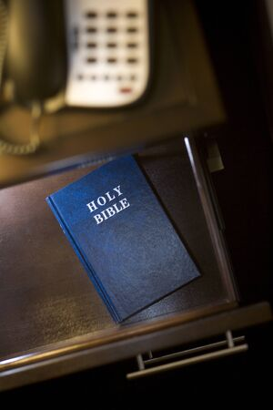 Bible in Hotel Room Stock Photo