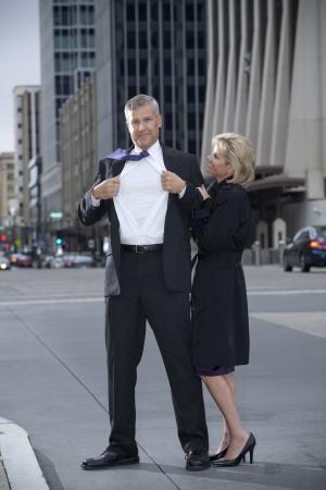 Man Posing as a Super Hero photo