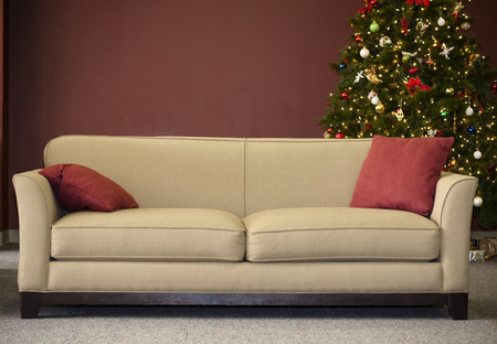 living room sofa: Couch with Christmas Tree
