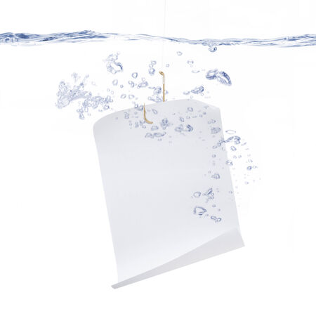 Fish Hook with White Paper Under Water